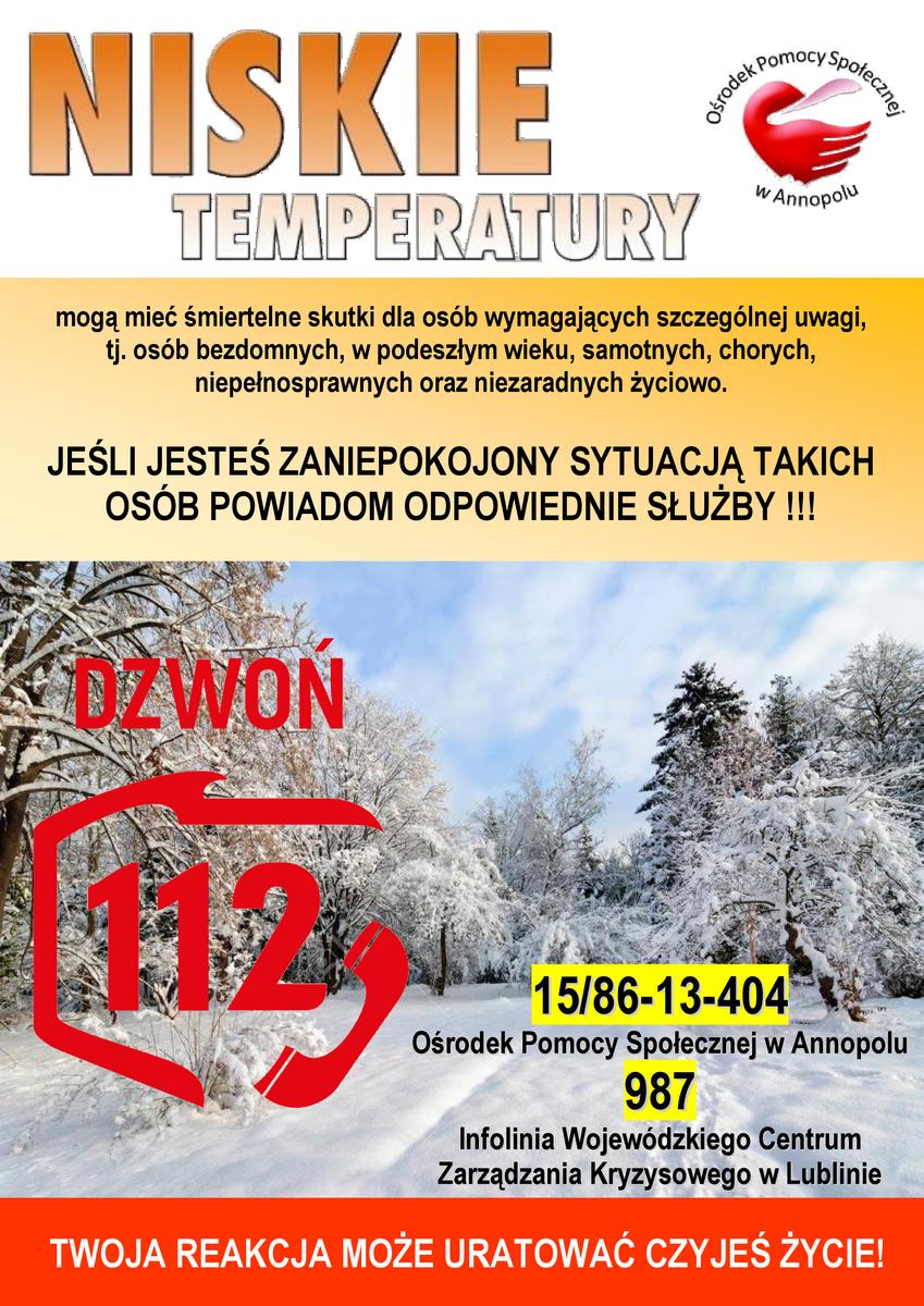 Plakat ostrzegający o niskich temperaturach i o możliwości powiadomienia na tel 112 o wszystkich zagrożonych osobach